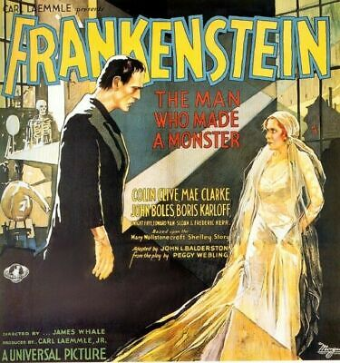 Vintage Old Movie Poster Frankenstein 1931 Print A4 A3 A2 A1