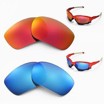 51aebb3cd6 NEW WALLEVA POLARIZED Fire Red + Ice Blue Lenses For Oakley Jawbone ...