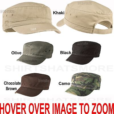 UNISEX Distressed Military Cap Hat Cadet Fidel Cap Cotton Adjustable Back NEW