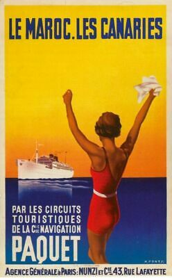 Vintage Old Transport Poster Marocco to Canaries Print Art A4 A3 A2 A1