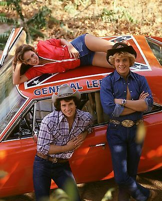 The Dukes Of Hazzard Original Cast Bo Luke & Daisy Duke 8X10 Photo General Lee