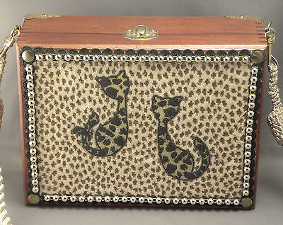 2003 Small Wood Cat Box Purse w Animal Print Front 2 Cats Sulhi Brossi