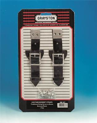 Grayston Pair Black Leather Bonnet/Boot/Panel Securing Straps