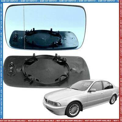Left Passenger blue Wide Angle Wing mirror glass for BMW 5 Series 95-03 Heated