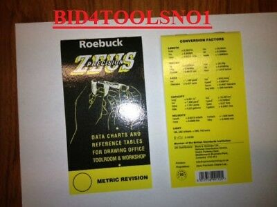 Pocket ZEUS BOOK Data Charts & Ref.Tables ( Mill,Lathe, ) bargain only  £5.99