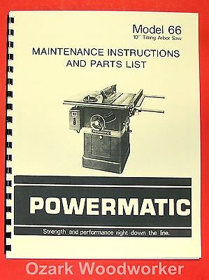 POWERMATIC 66 Table Saw Instruction & Part Manual 0558