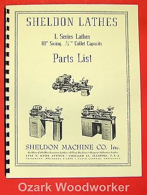"SHELDON L Series 10"" Metal Lathe Parts Manual 0831"