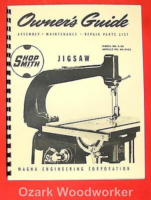 SHOPSMITH Jig Saw A-34 Attachment Operator's & Parts Manual for 10-ER 0833