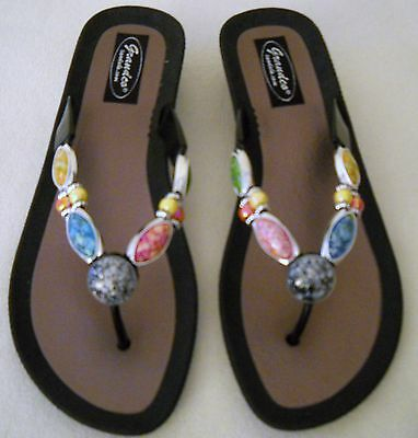 GRANDCO SANDALS Dressy Beach Pool THONG BLING WHITE Frosted JEWELED Flip Flops