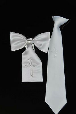 Boys first communion tie and armband set with cross pattern embroidery