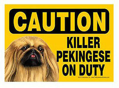 "Funny Dog Sign Caution Killer PEKINGESE on Duty magnet 5"" x 7"""