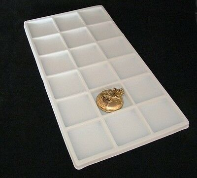 Lot Of 6  18 Compartment Tray Inserts Flocked White