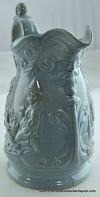 Antique Idle Apprentices Blue Ceramic Water Pitcher Clay Detailed Ornate England