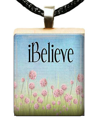 CHRISTIAN SCRABBLE TILE PENDANT CHARM IBELIEVE FLOWERS I BELIEVE #04