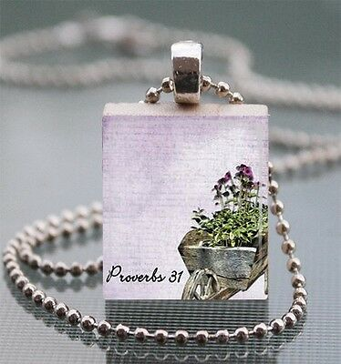 PROVERBS 31 CHRISTIAN SCRABBLE TILE PENDANT CHARM BIBLE SCRIPTURE CHARM #09