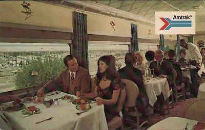 ZD891  Vintage Picture Postcard Deluxe Dining Car Amtrak Passenger Train 1970