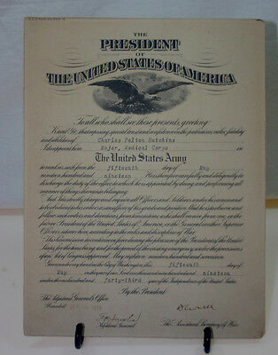 WW 1 Era US Army Medical Corps Commissioning Document 1919