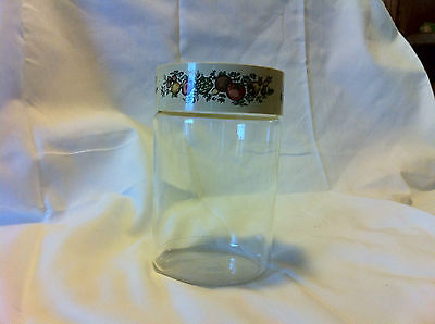 PYREX VEGETABLE THEME GLASS JARE WITH PLASTIC LID