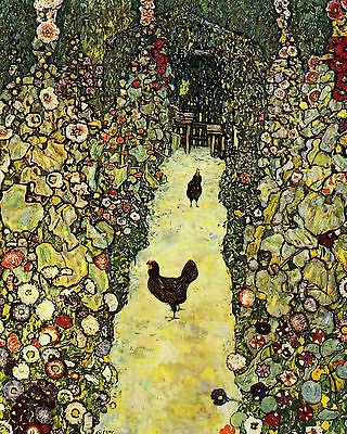 Klimt  Garden Path With Chickens - Print Canvas Giclee Art Repro 8X10