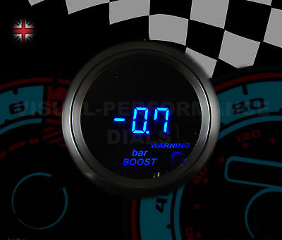 DIGITAL BOOST TURBO GAUGE SMOKED FACE 52mm BAR