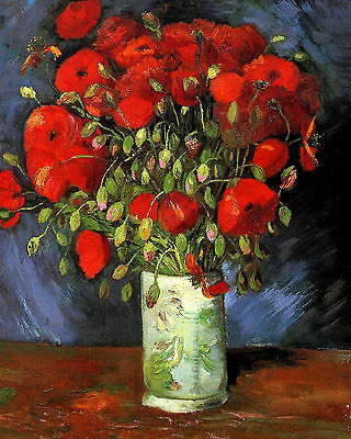 Van Gogh Vase With Red Poppies - Print Canvas Giclee Art Repro 8X10