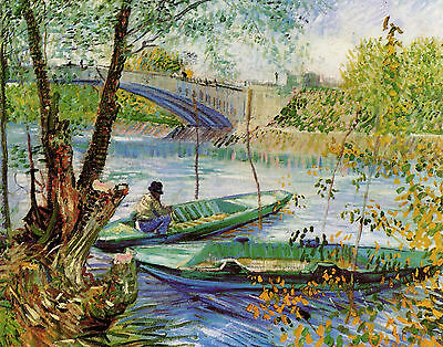 Van Gogh Fishing In Spring - Print Canvas Giclee Art Repro 11X14
