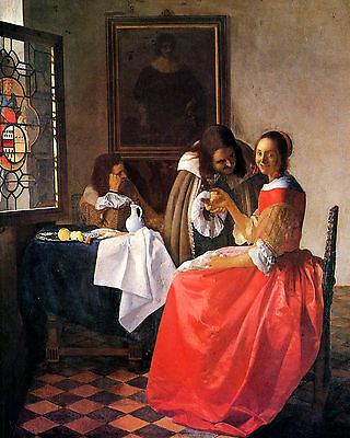 Vermeer The Girl With A Wine Glass - Print Canvas Giclee Art Repro 8X10