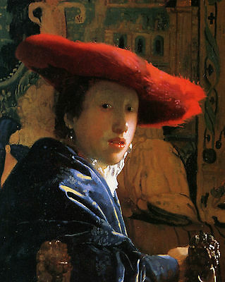 Vermeer Girl With A Red Hat  - Print Canvas Giclee Art Repro 8X10