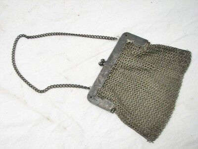Antique German Silver Chain Mail Mesh Purse Patented Hallmarked Ornate Frame