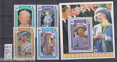 Turks & Caicos Y. 895 / 898 + Bl 99, Regina Madre, The Queen Mother,  Mnh** B84