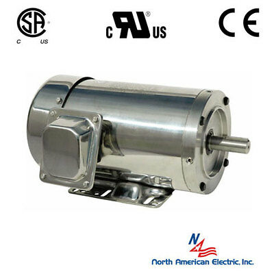 1 hp electric motor 143tc  stainless steel washdown 3 phase 1800 rpm tefc