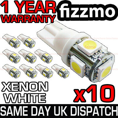 10x 5 SMD LED 501 T10 W5W PUSH WEDGE CAPLESS BRIGHT WHITE SIDE LIGHT BULBS L@@K
