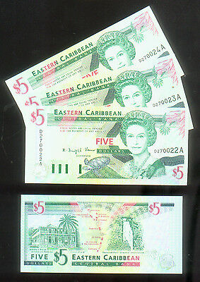 1994 Eastern East Caribbean Antigua $5 UNC P-31a