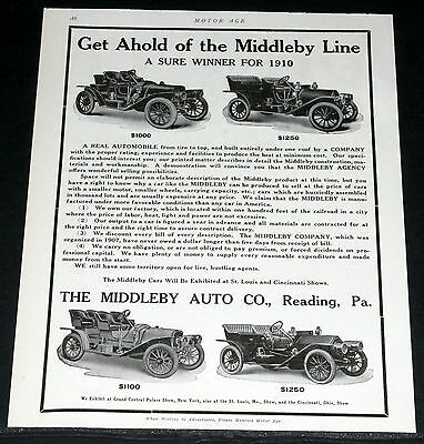 1910 Old Magazine Print Ad, Middleby, Runabout & Touring Automobiles, A Winner!
