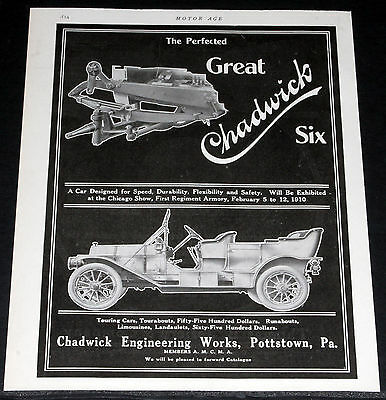 1910 Old Magazine Print Ad, Chadwick Engineering Works Touring Car, Automobiles!