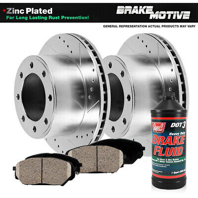 FRONT DRILLED AND SLOTTED BRAKE ROTORS & CERAMIC PADS Ram 2500 3500 2WD 4WD 4X4
