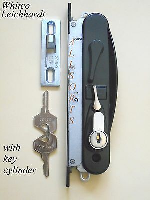 Sliding security screen door lock Whitco Leichhardt * black * With Cylinder *
