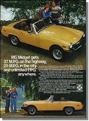 1976 Backpackers & Yellow MG Midget Car Photo-Ad