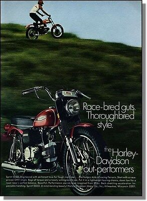 1970 Harley Davidson Sprint SS-350 Motorcycle Photo-Ad