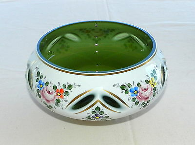 Vintage Bohemian Czech Art Glass Cut To Green White Cased With Flowers Bowl Dish