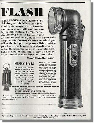 1939 Boy Scout flashlight & siren whistle offer - Curtis publishing print-ad