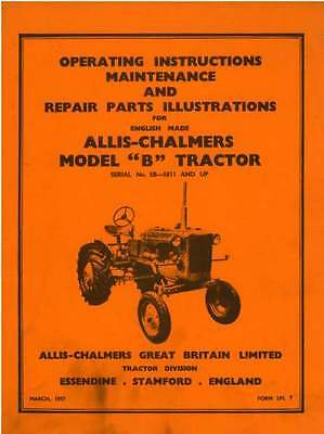 Allis Chalmers Tractor Model B Operators Manual