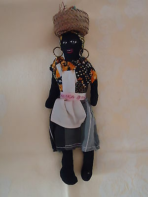 """Vintage Black Americana Hand Made Jamaican Doll, Hand Painted Face, 12"""" Tall"""