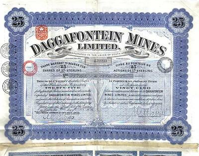 South Africa 1936 Daggafontein Gold Mines 25 shares Uncancelled coupons Waterlow