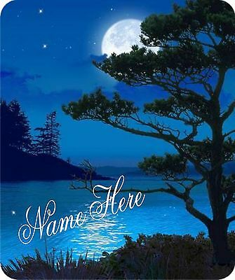 ***mouse Pad - Beautiful Blue Moonlit Night - Personalized Free! Wow!!***