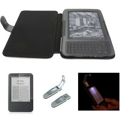 3in1 Amazon Kindle 3, Keyboard Genuine Leather Cover Case + Reading Light  BK