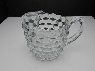 "Fostoria American Jug Pitcher Ice Lip Clear 6 3/8"" T ca 1915-1982"
