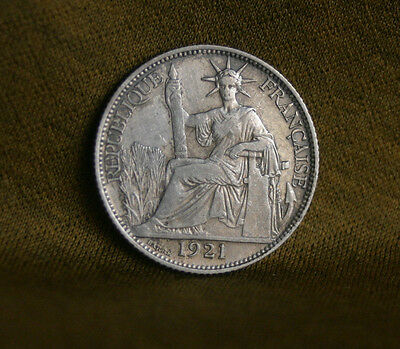 20 Cents 1921 A French Indo China Silver World Coin KM15 Vietnam