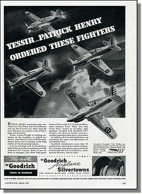 1941 Curtiss P40 Fighter Airplanes - Goodrich Tire Ad