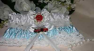 Wedding Ceremony Party Fireman Firefighter ~2 Garters~ White & Blue Toss Garter